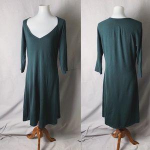 RALPH LAUREN Forest Green Cashmere Midi Dress